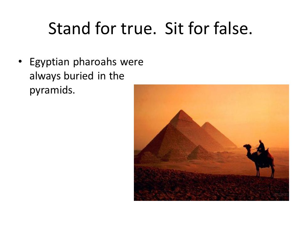 Stand for true. Sit for false. Egyptian pharoahs were always buried in the pyramids.