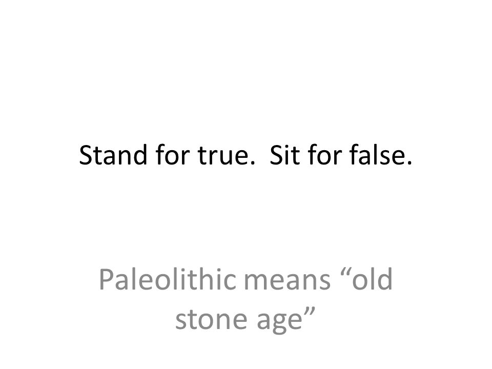 Stand for true. Sit for false. Paleolithic means old stone age