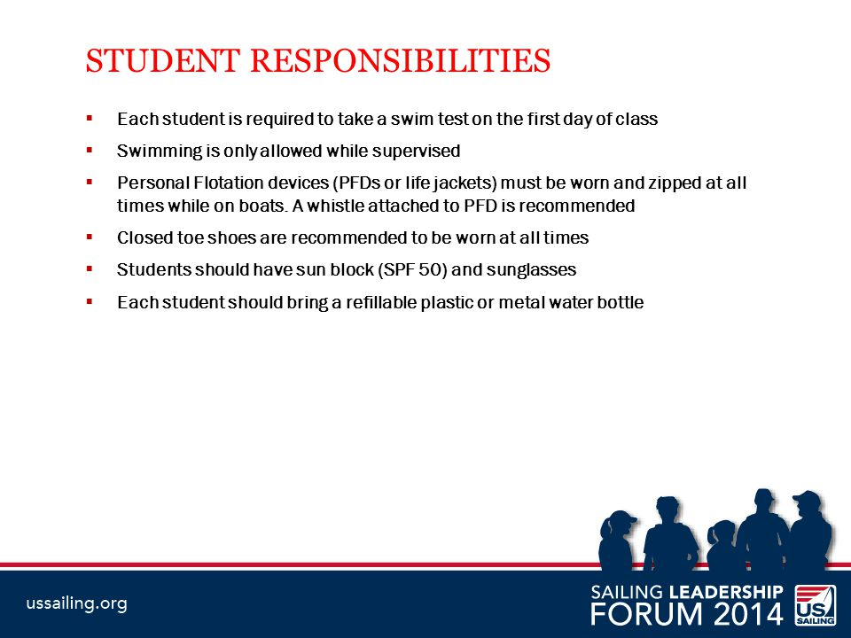 STUDENT RESPONSIBILITIES  Each student is required to take a swim test on the first day of class  Swimming is only allowed while supervised  Person