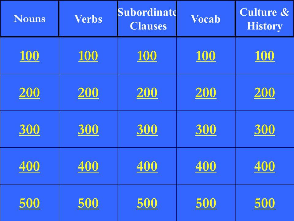 200 300 400 500 100 200 300 400 500 100 200 300 400 500 100 200 300 400 500 100 200 300 400 500 100 Nouns Verbs Subordinate Clauses Vocab Culture & Hi