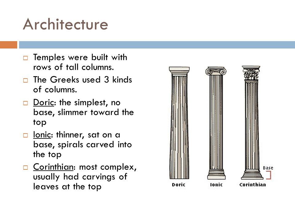 Architecture  Temples were built with rows of tall columns.