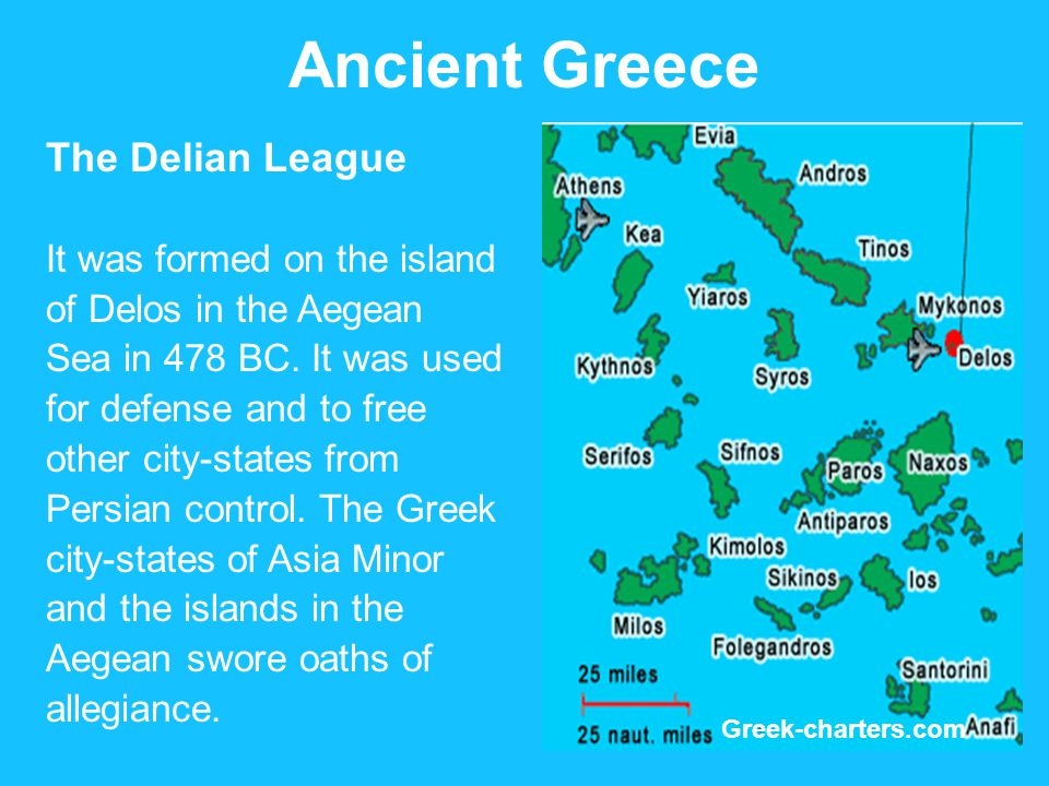 Ancient Greece The Delian League It was formed on the island of Delos in the Aegean Sea in 478 BC.