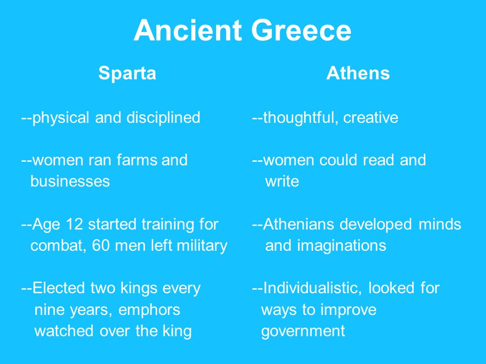 Ancient Greece Sparta --physical and disciplined --women ran farms and businesses --Age 12 started training for combat, 60 men left military --Elected two kings every nine years, emphors watched over the king Athens --thoughtful, creative --women could read and write --Athenians developed minds and imaginations --Individualistic, looked for ways to improve government