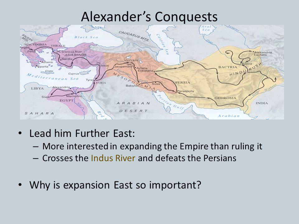 Alexander's Conquests Lead him Further East: – More interested in expanding the Empire than ruling it – Crosses the Indus River and defeats the Persians Why is expansion East so important
