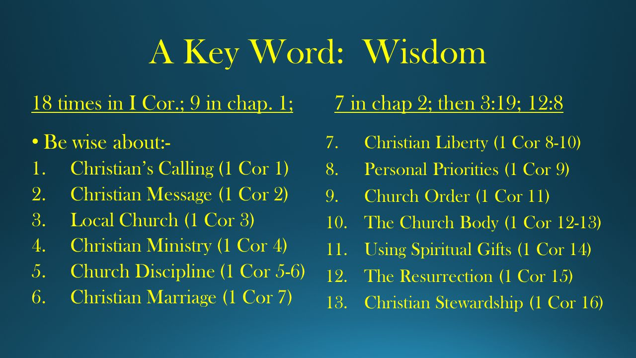 A Key Word: Wisdom 18 times in I Cor.; 9 in chap.