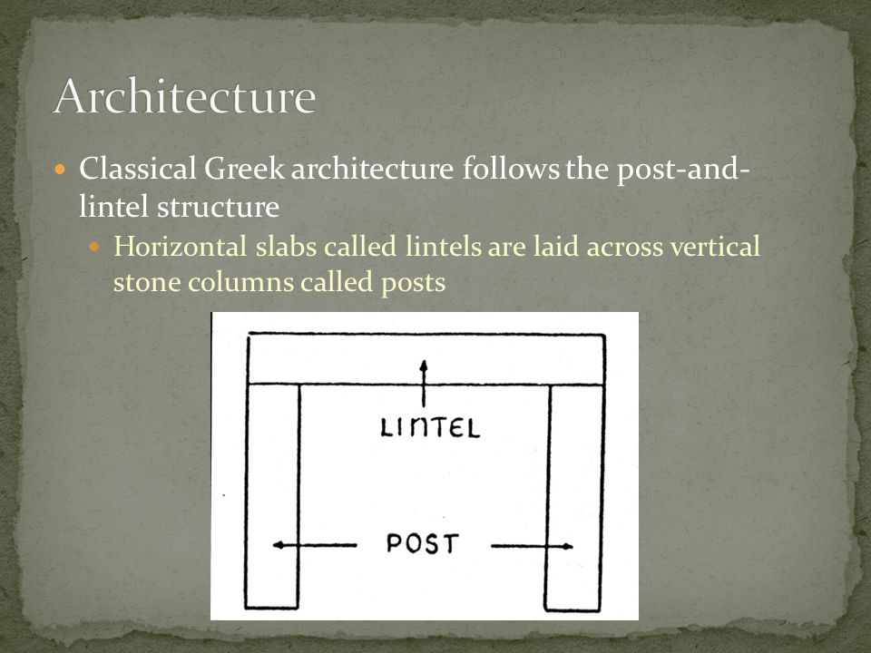 Classical Greek architecture follows the post-and- lintel structure Horizontal slabs called lintels are laid across vertical stone columns called post
