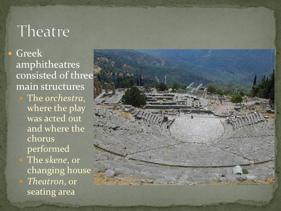 Greek amphitheatres consisted of three main structures The orchestra, where the play was acted out and where the chorus performed The skene, or changi