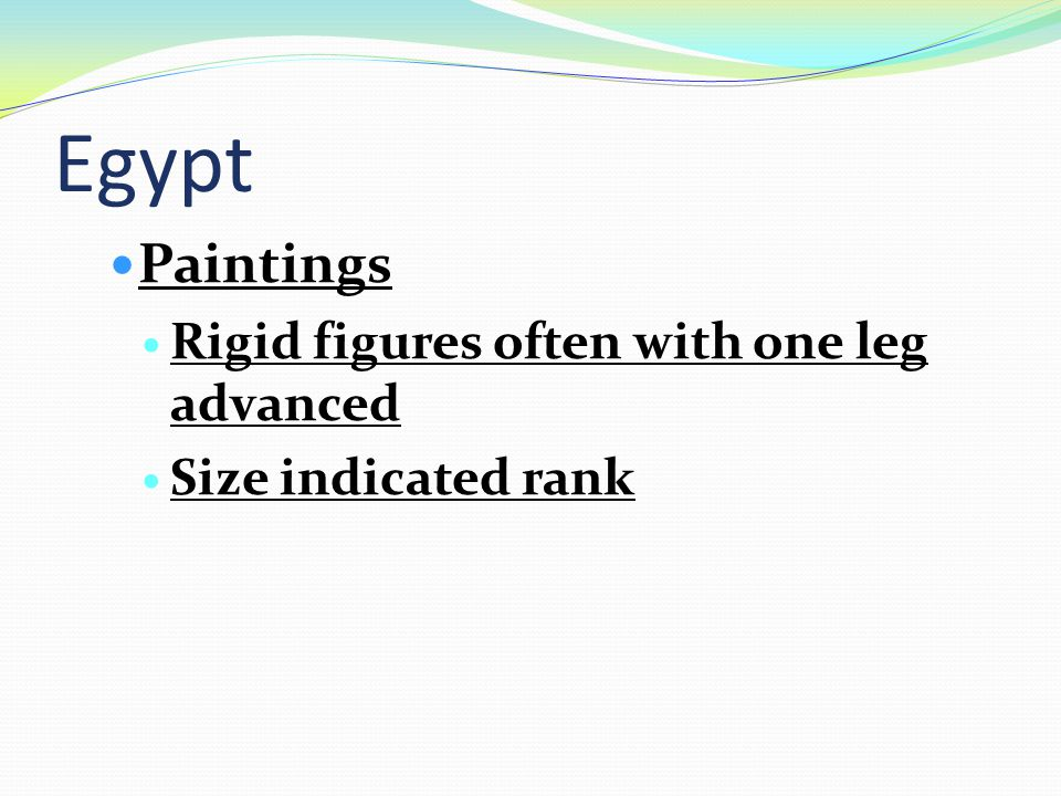 Egypt Paintings Rigid figures often with one leg advanced Size indicated rank