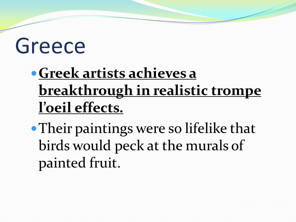 Greece Greek artists achieves a breakthrough in realistic trompe l'oeil effects.