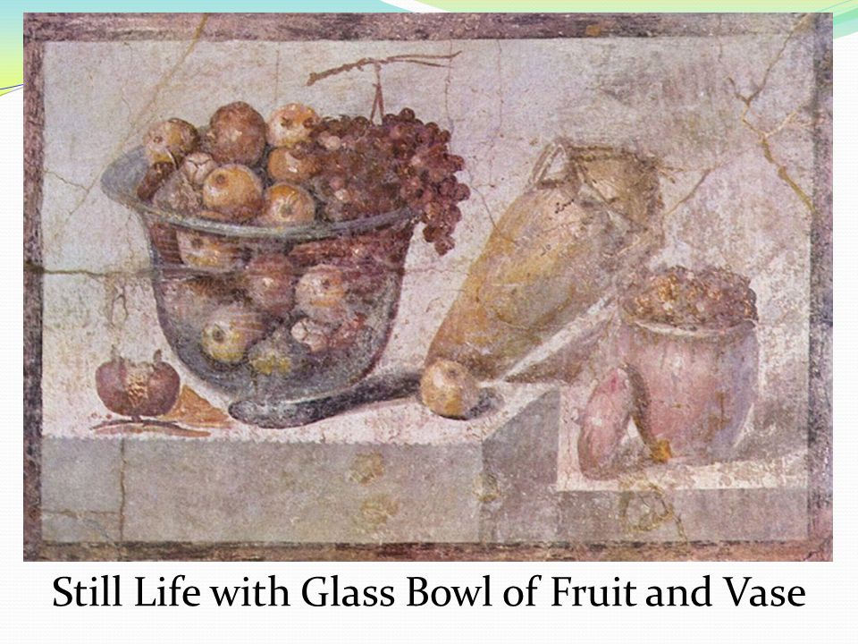Still Life with Glass Bowl of Fruit and Vase