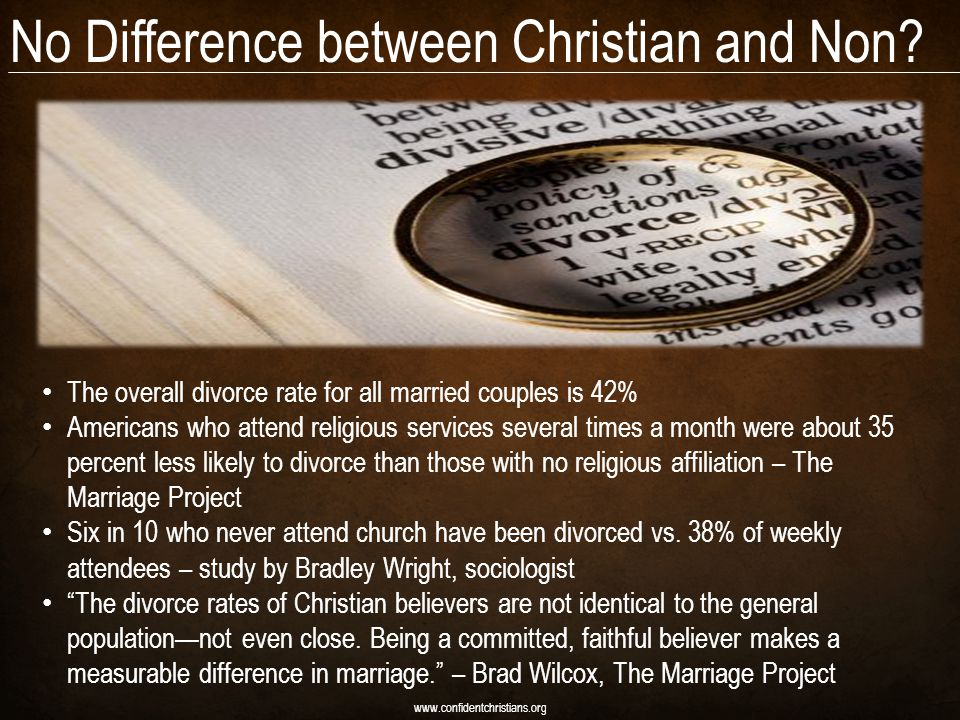 No Difference between Christian and Non? www.confidentchristians.org The overall divorce rate for all married couples is 42% Americans who attend reli