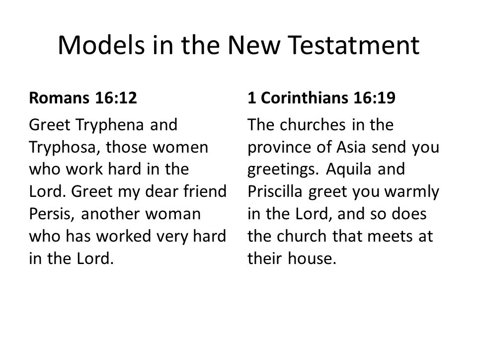 Models in the New Testatment Romans 16:12 Greet Tryphena and Tryphosa, those women who work hard in the Lord.