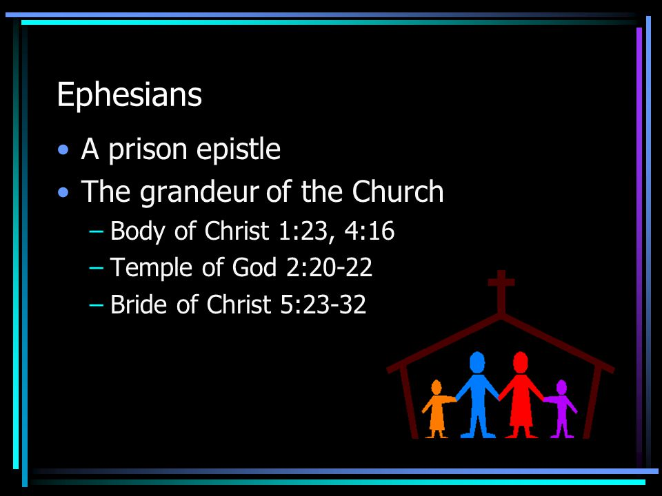 Ephesians A prison epistle The grandeur of the Church –Body of Christ 1:23, 4:16 –Temple of God 2:20-22 –Bride of Christ 5:23-32
