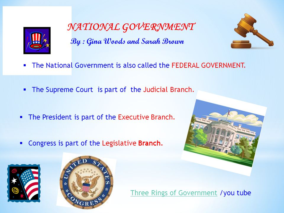 NATIONAL GOVERNMENT  The National Government is also called the FEDERAL GOVERNMENT.