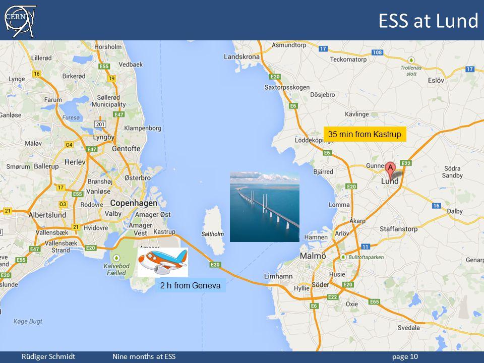 CERN Rüdiger Schmidt Nine months at ESSpage 10 ESS at Lund 2 h from Geneva 35 min from Kastrup