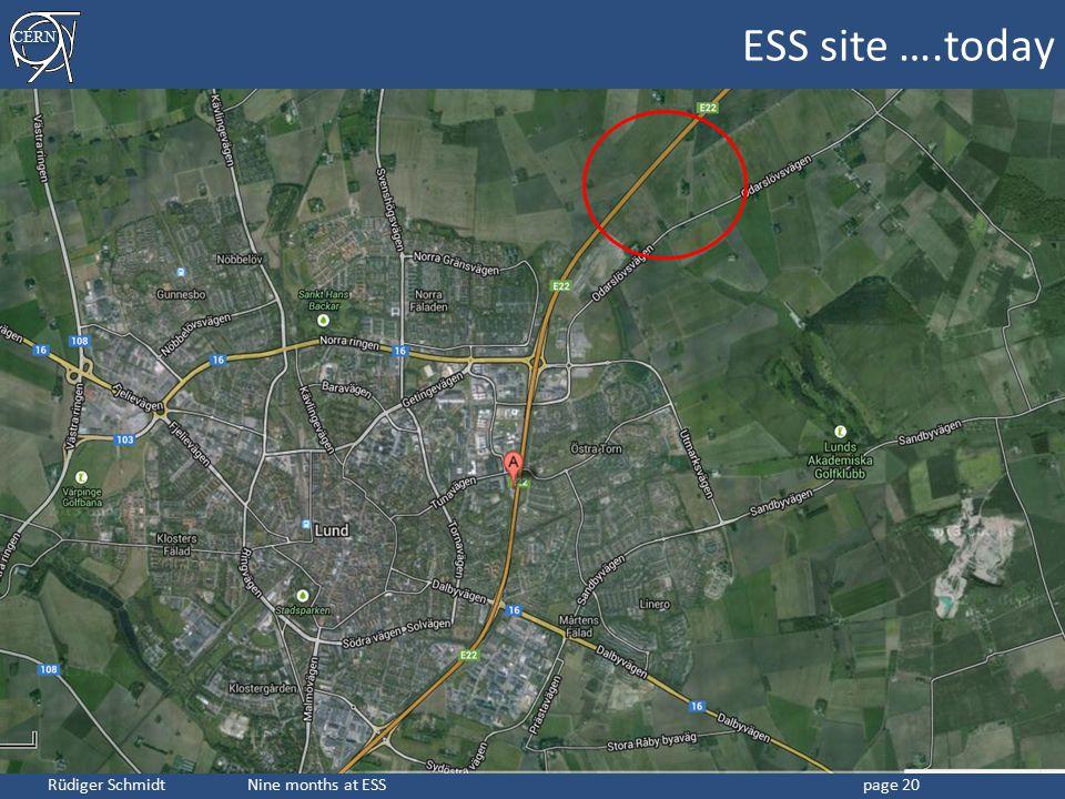 CERN Rüdiger Schmidt Nine months at ESSpage 20 ESS site ….today
