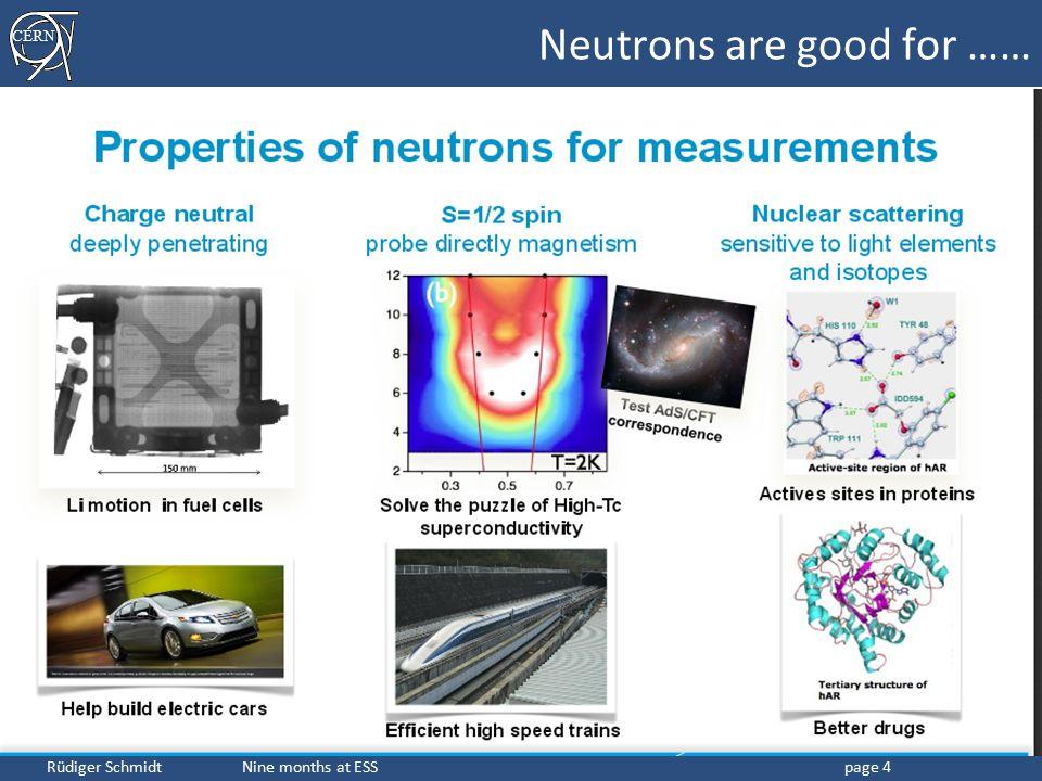 CERN Rüdiger Schmidt Nine months at ESSpage 4 Neutrons are good for ……