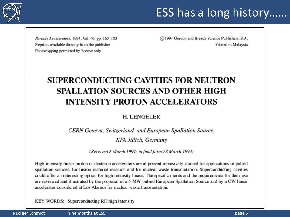 CERN Rüdiger Schmidt Nine months at ESSpage 5 ESS has a long history……