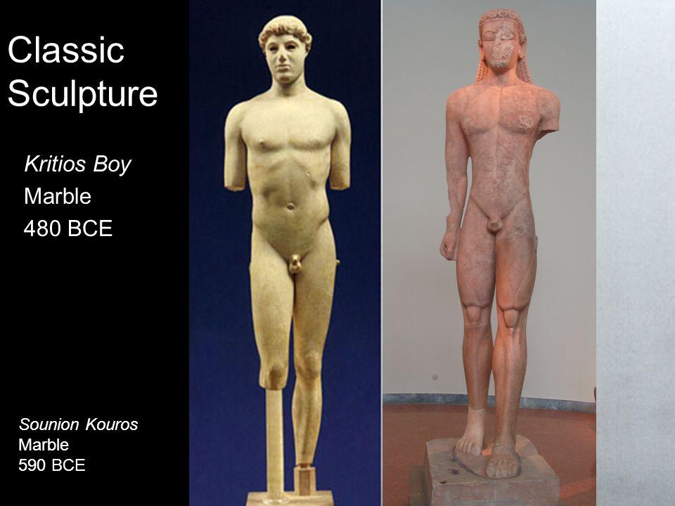 Classic Sculpture Kritios Boy Marble 480 BCE Sounion Kouros Marble 590 BCE