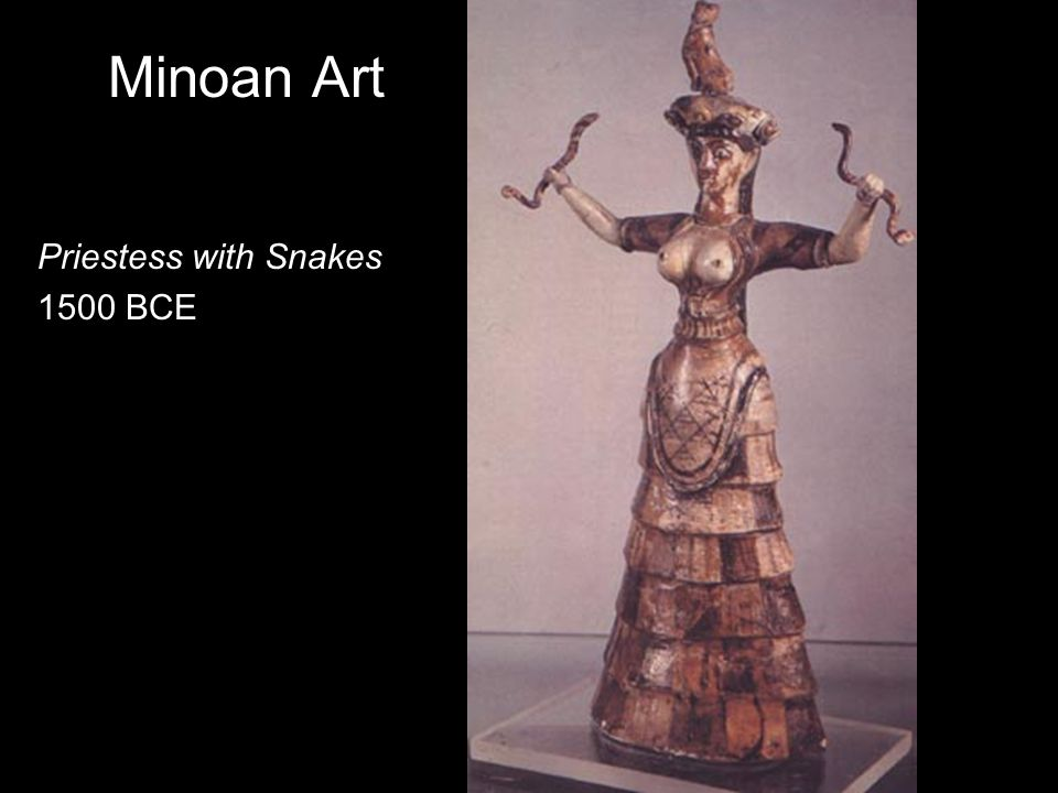 Minoan Art Priestess with Snakes 1500 BCE