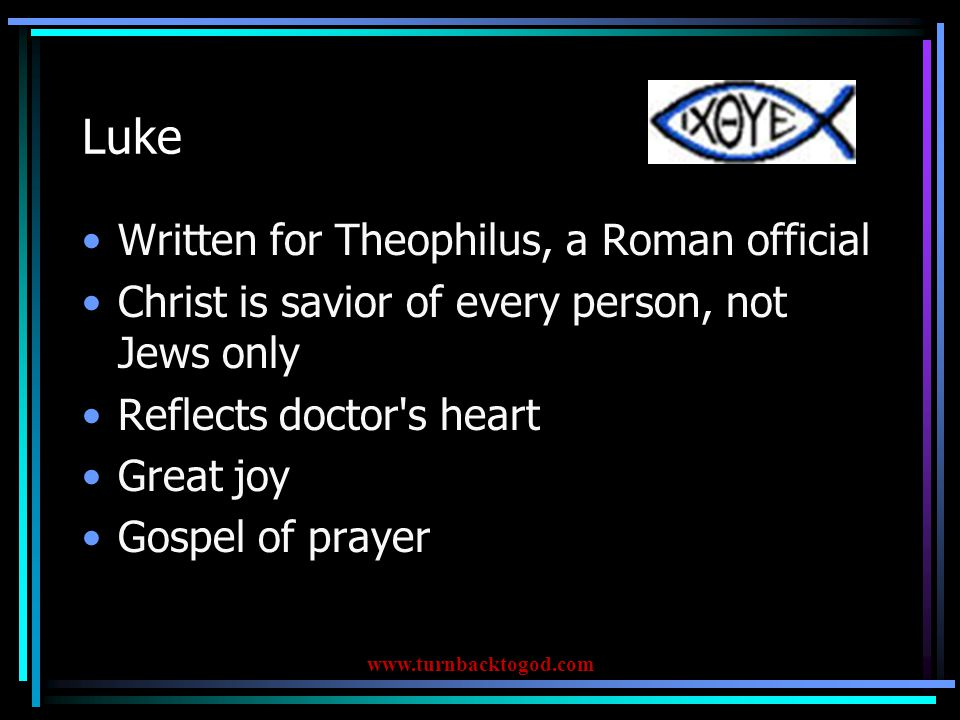 1 John A letter written from Ephesus If we are His, we will love one another and live righteously www.turnbacktogod.com