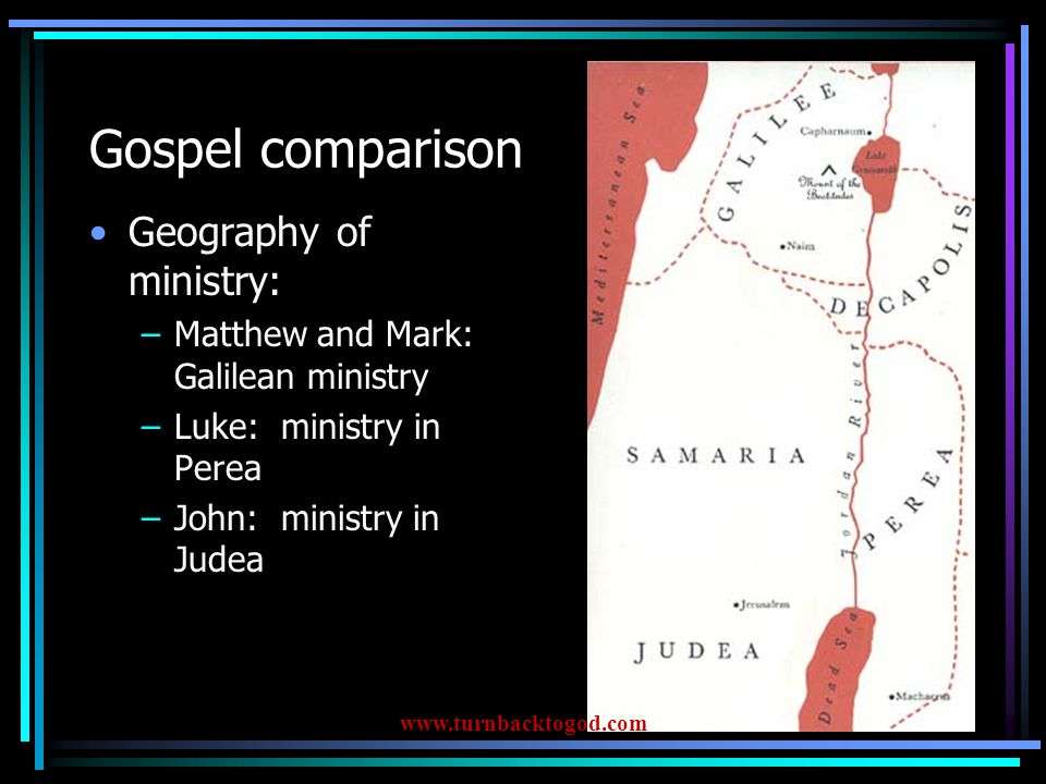 Acts Church history (acts of some of the Apostle – primarily Peter and Paul) Paul's 3 missionary journeys Key chapters –Acts 2 – Day of Pentecost –Acts 15 -- pivotal decision www.turnbacktogod.com