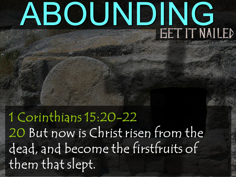 1 Corinthians 15:20-22 20 But now is Christ risen from the dead, and become the firstfruits of them that slept.