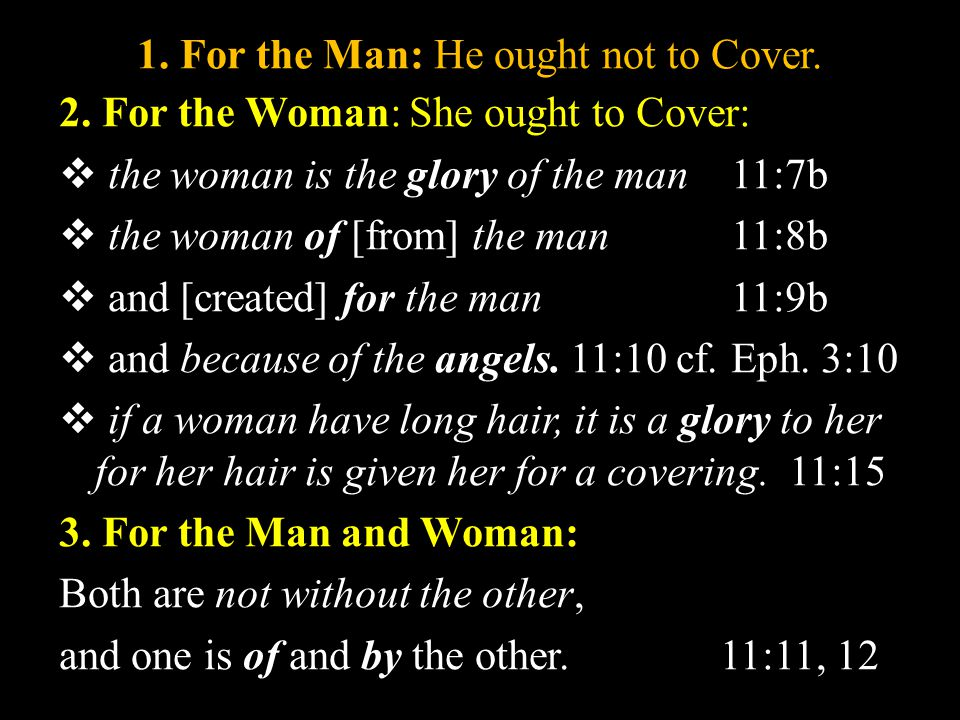 1.For the Man: He ought not to Cover. 2.