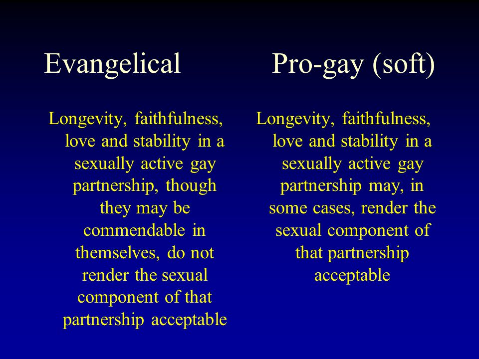 Evangelical Pro-gay (soft) Longevity, faithfulness, love and stability in a sexually active gay partnership, though they may be commendable in themselves, do not render the sexual component of that partnership acceptable Longevity, faithfulness, love and stability in a sexually active gay partnership may, in some cases, render the sexual component of that partnership acceptable