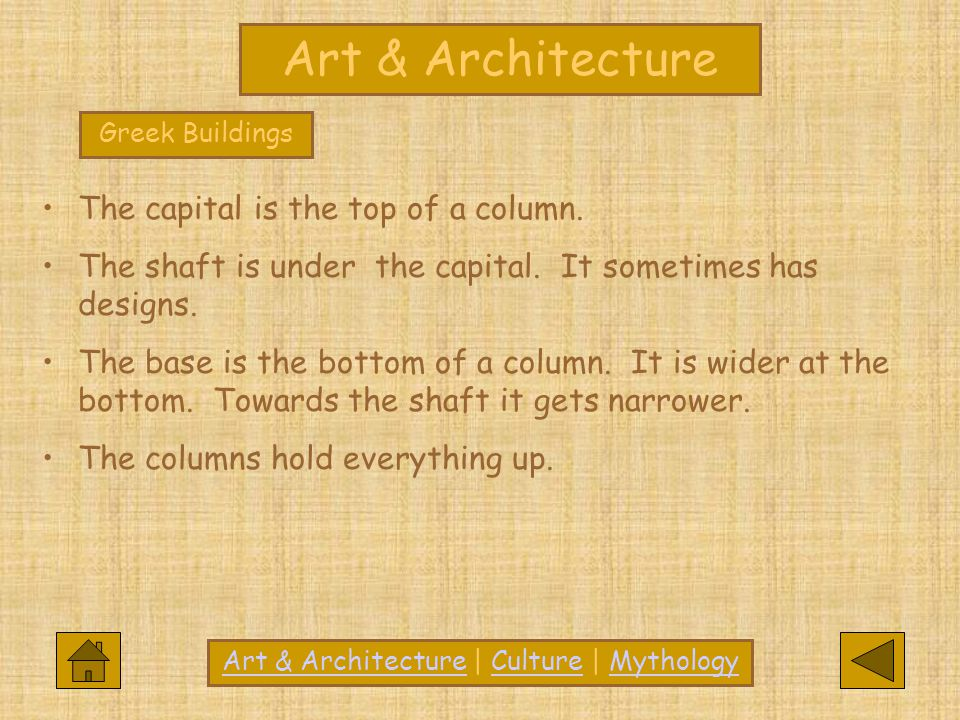Greek Buildings The capital is the top of a column. The shaft is under the capital. It sometimes has designs. The base is the bottom of a column. It i