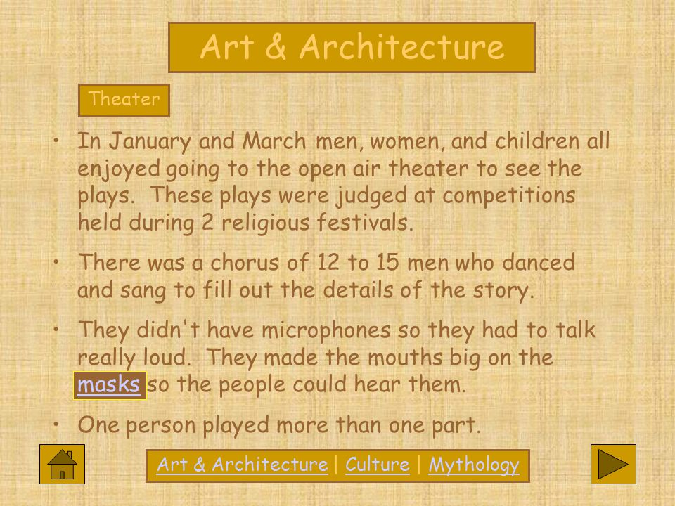 Art & Architecture In January and March men, women, and children all enjoyed going to the open air theater to see the plays. These plays were judged a
