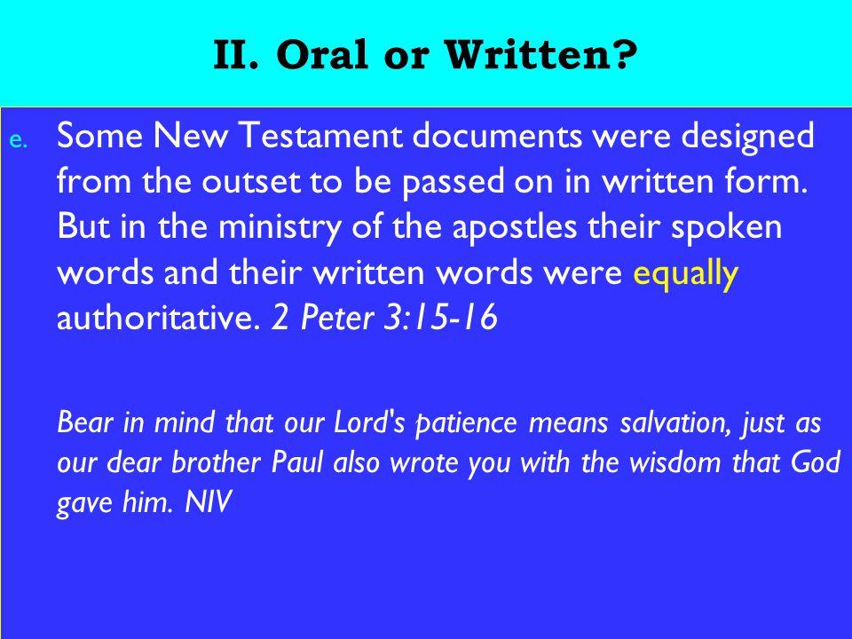 8 II. Oral or Written. e.