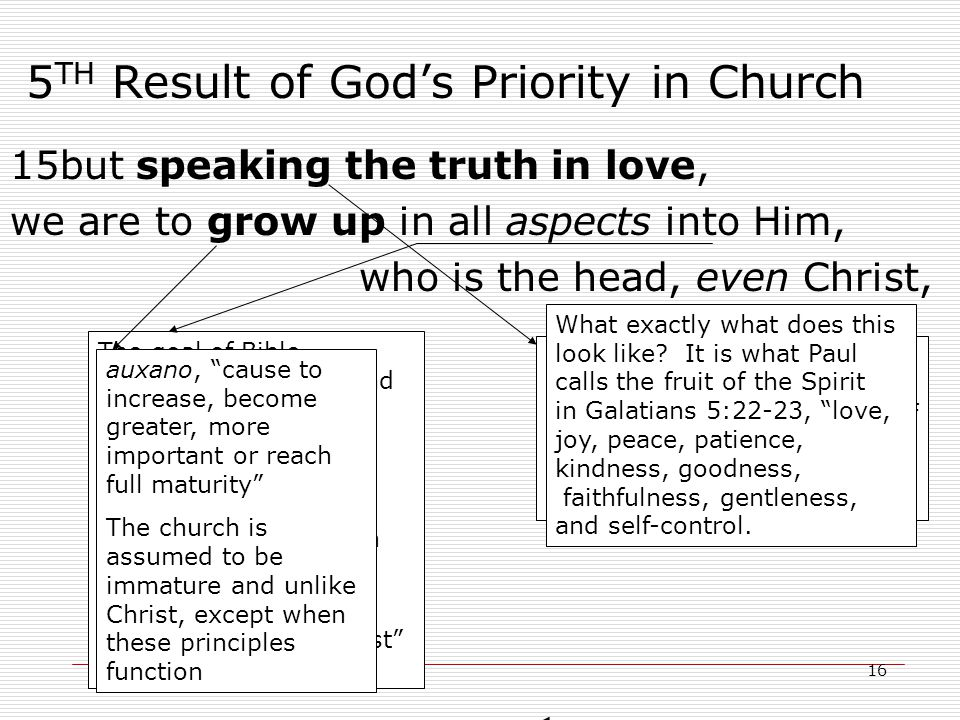 16 5 TH Result of God's Priority in Church 15but speaking the truth in love, we are to grow up in all aspects into Him, who is the head, even Christ, aletheuo, speak, deal, act according to body life truth, lit.