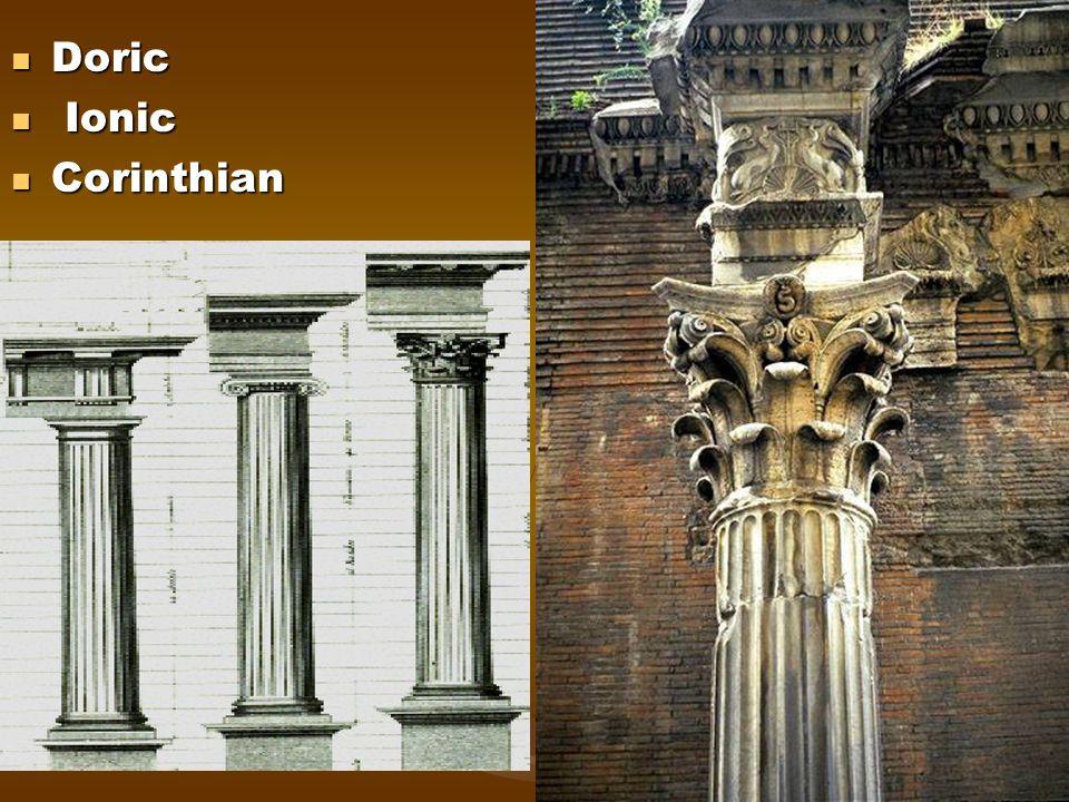 Doric Doric Ionic Ionic Corinthian Corinthian