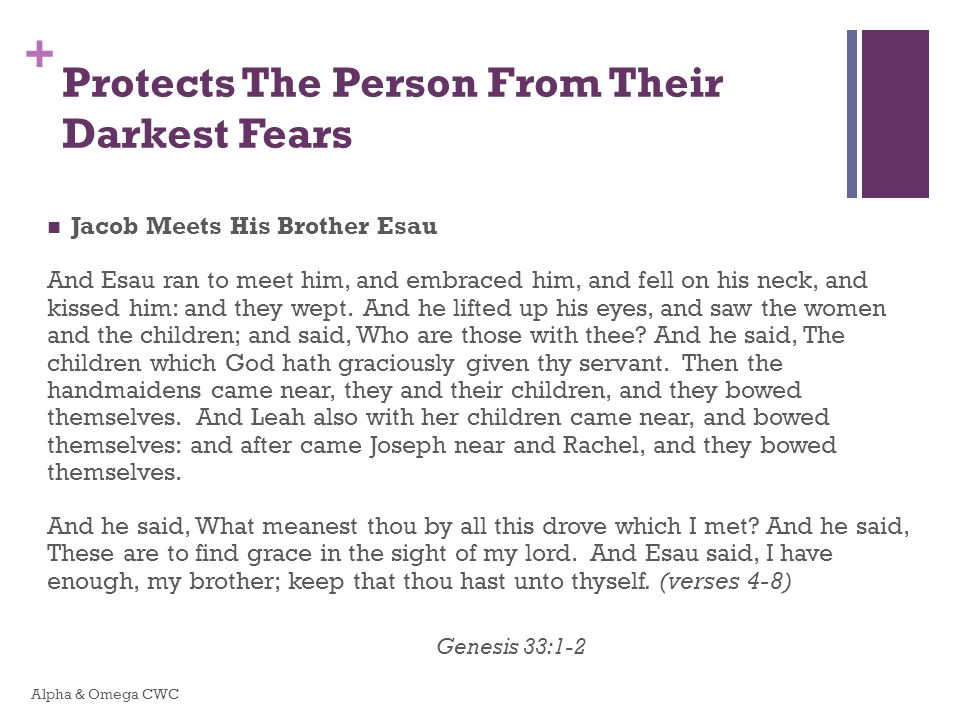 + Protects The Person From Their Darkest Fears Jacob Meets His Brother Esau And Esau ran to meet him, and embraced him, and fell on his neck, and kissed him: and they wept.