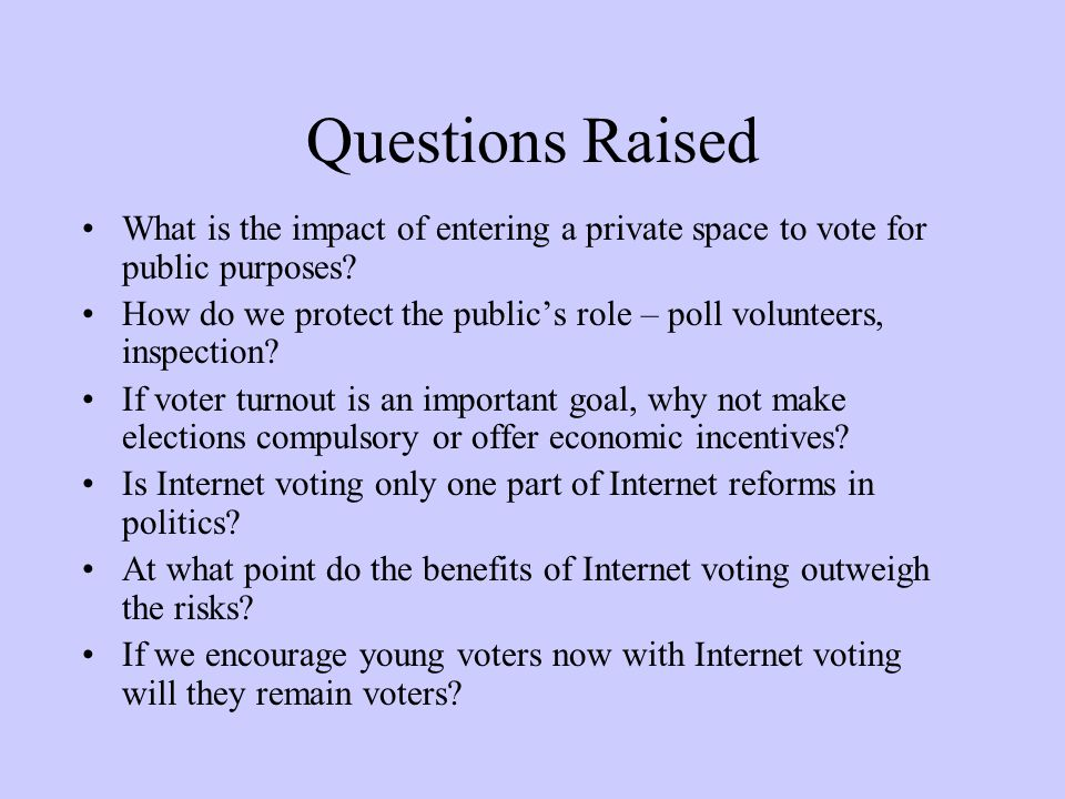 Questions Raised What is the impact of entering a private space to vote for public purposes.