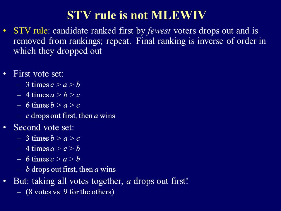 STV rule is not MLEWIV STV rule: candidate ranked first by fewest voters drops out and is removed from rankings; repeat.