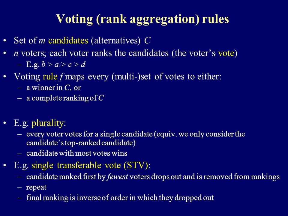 Voting (rank aggregation) rules Set of m candidates (alternatives) C n voters; each voter ranks the candidates (the voter's vote) –E.g.