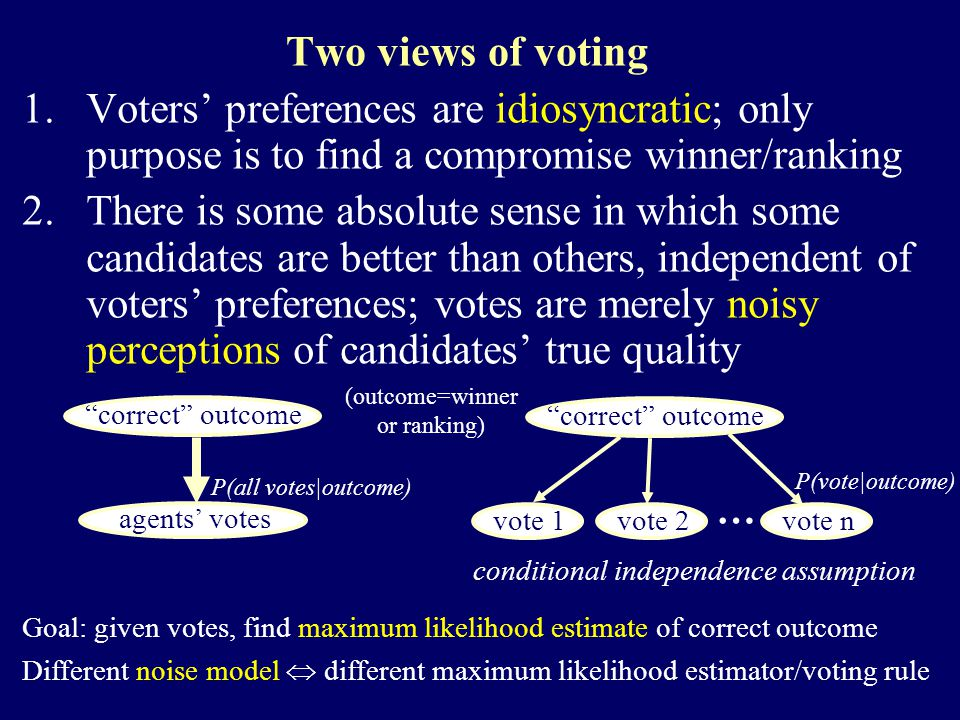 Two views of voting 1.Voters' preferences are idiosyncratic; only purpose is to find a compromise winner/ranking 2.There is some absolute sense in which some candidates are better than others, independent of voters' preferences; votes are merely noisy perceptions of candidates' true quality a correct outcome a agents' votes a correct outcome a vote 1 a vote 2 a vote n … conditional independence assumption Goal: given votes, find maximum likelihood estimate of correct outcome Different noise model  different maximum likelihood estimator/voting rule (outcome=winner or ranking) P(vote|outcome) P(all votes|outcome)