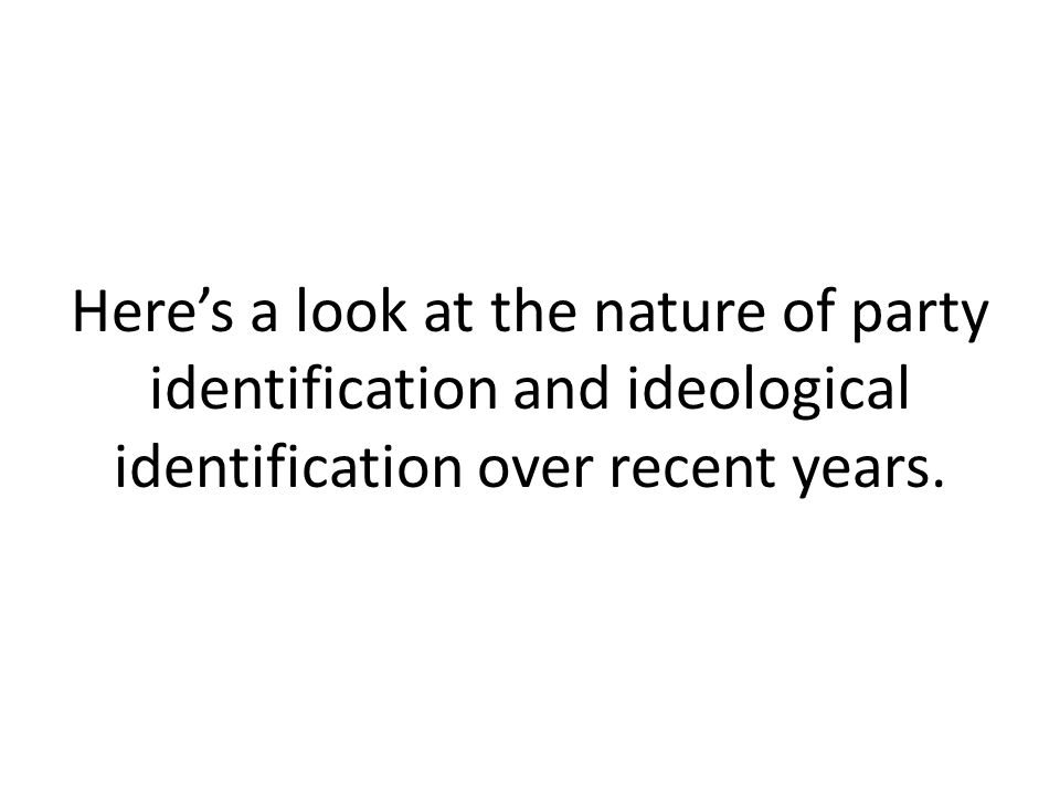 Here's a look at the nature of party identification and ideological identification over recent years.
