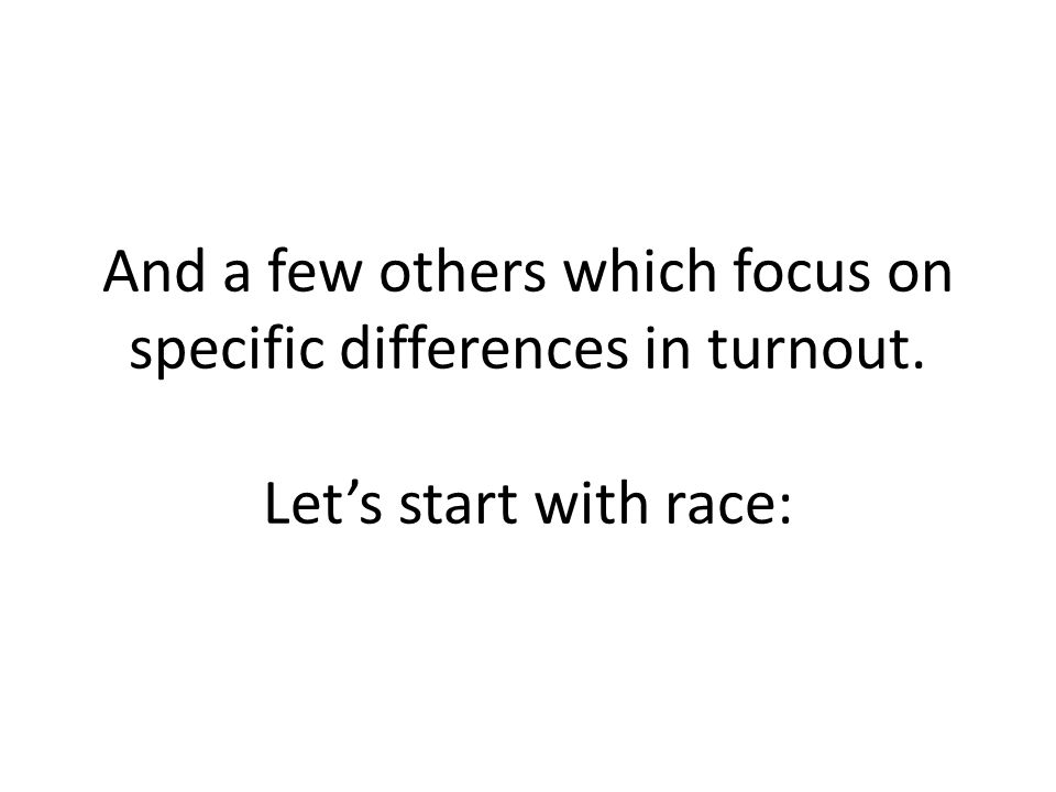 And a few others which focus on specific differences in turnout. Let's start with race: