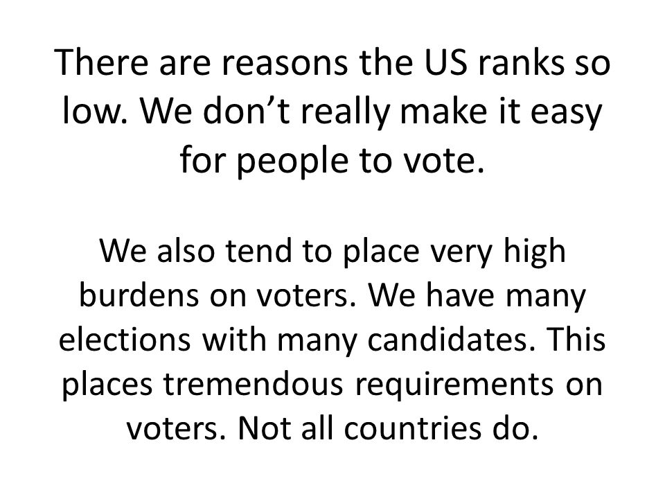 There are reasons the US ranks so low. We don't really make it easy for people to vote.