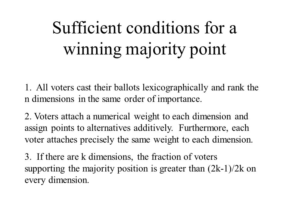 Sufficient conditions for a winning majority point 1.