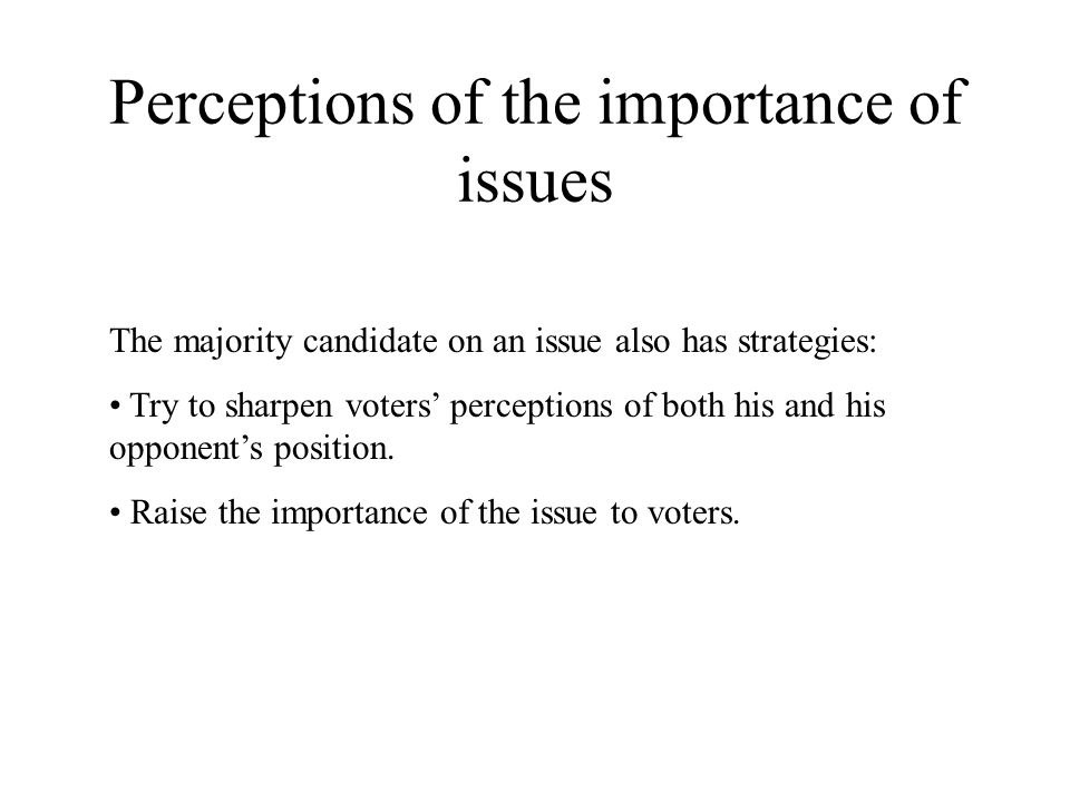 Perceptions of the importance of issues The majority candidate on an issue also has strategies: Try to sharpen voters' perceptions of both his and his opponent's position.