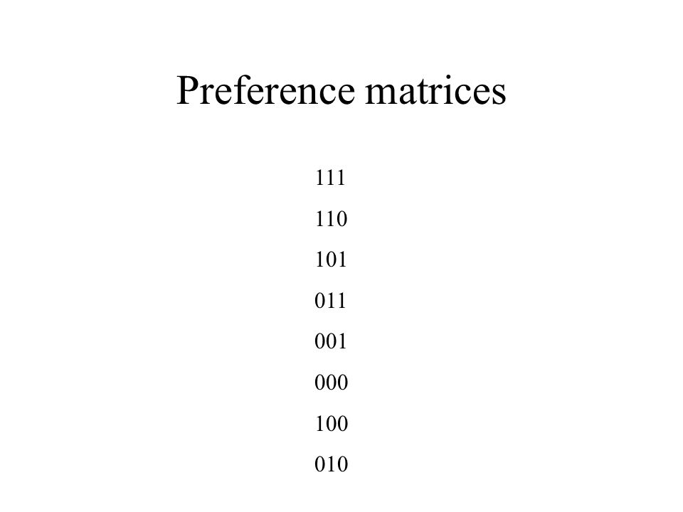 Preference matrices 111 110 101 011 001 000 100 010