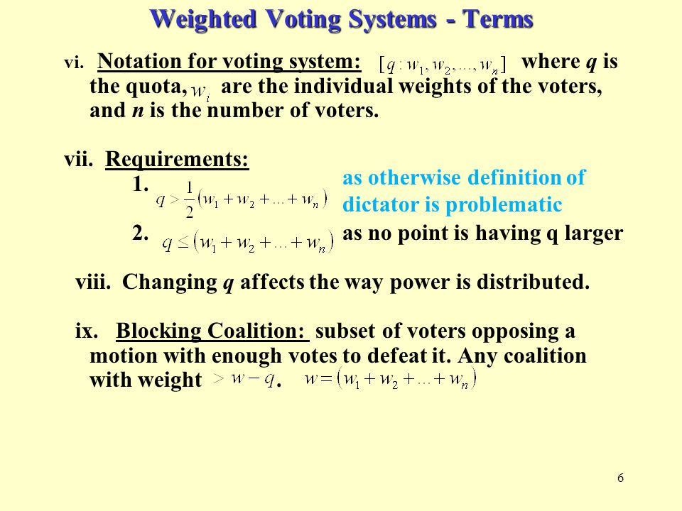 17 Shapley-Shubik Power Index: Given a voting system create a Shapley- Shubik table: For this example use {A,B,C} with the voting system [3:2,1,1] Pivotal voter is underlined.