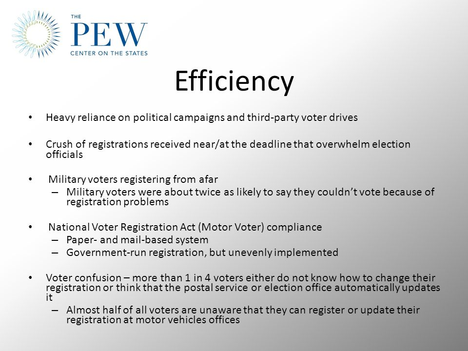 Heavy reliance on political campaigns and third-party voter drives Crush of registrations received near/at the deadline that overwhelm election officials Military voters registering from afar – Military voters were about twice as likely to say they couldn't vote because of registration problems National Voter Registration Act (Motor Voter) compliance – Paper- and mail-based system – Government-run registration, but unevenly implemented Voter confusion – more than 1 in 4 voters either do not know how to change their registration or think that the postal service or election office automatically updates it – Almost half of all voters are unaware that they can register or update their registration at motor vehicles offices Efficiency