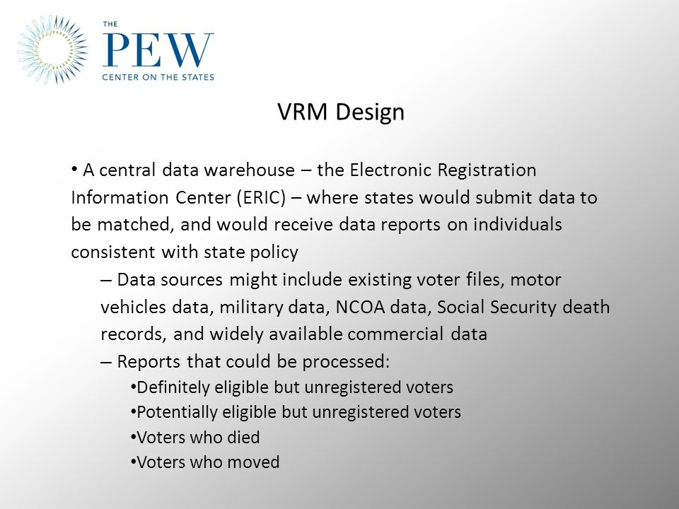 VRM Design A central data warehouse – the Electronic Registration Information Center (ERIC) – where states would submit data to be matched, and would receive data reports on individuals consistent with state policy – Data sources might include existing voter files, motor vehicles data, military data, NCOA data, Social Security death records, and widely available commercial data – Reports that could be processed: Definitely eligible but unregistered voters Potentially eligible but unregistered voters Voters who died Voters who moved