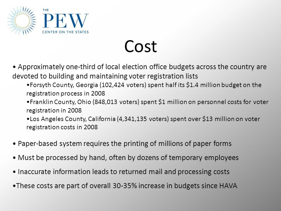 Cost Approximately one-third of local election office budgets across the country are devoted to building and maintaining voter registration lists Forsyth County, Georgia (102,424 voters) spent half its $1.4 million budget on the registration process in 2008 Franklin County, Ohio (848,013 voters) spent $1 million on personnel costs for voter registration in 2008 Los Angeles County, California (4,341,135 voters) spent over $13 million on voter registration costs in 2008 Paper-based system requires the printing of millions of paper forms Must be processed by hand, often by dozens of temporary employees Inaccurate information leads to returned mail and processing costs These costs are part of overall 30-35% increase in budgets since HAVA