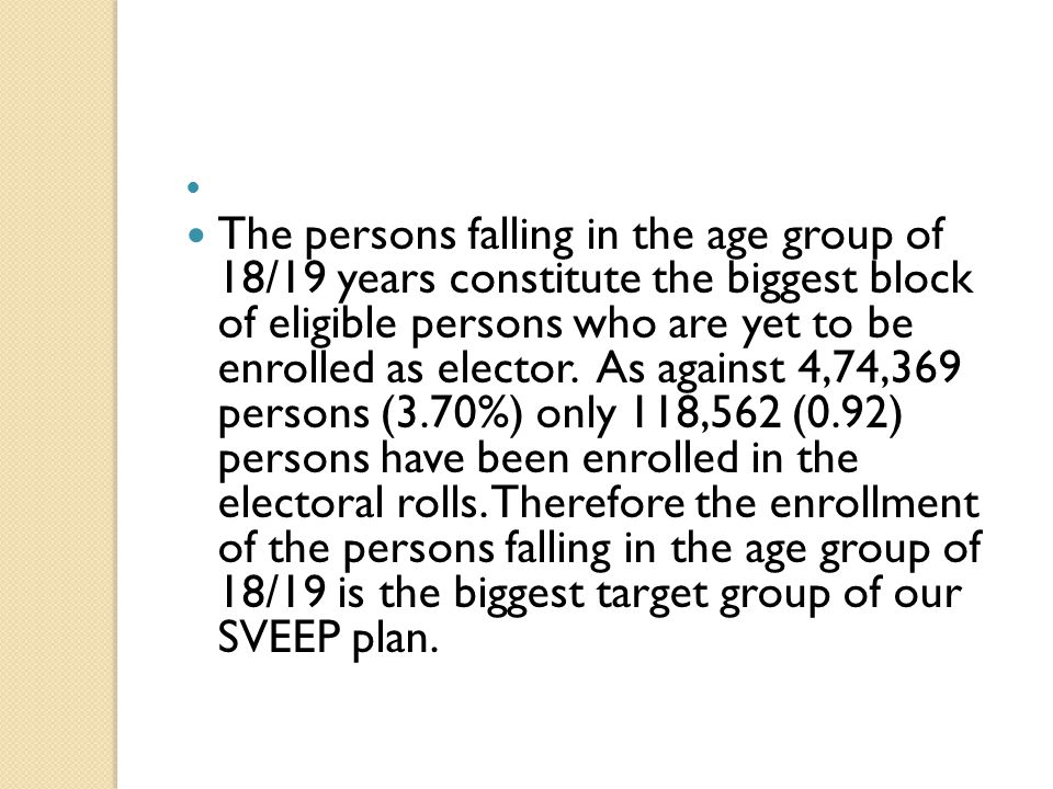 The persons falling in the age group of 18/19 years constitute the biggest block of eligible persons who are yet to be enrolled as elector. As against